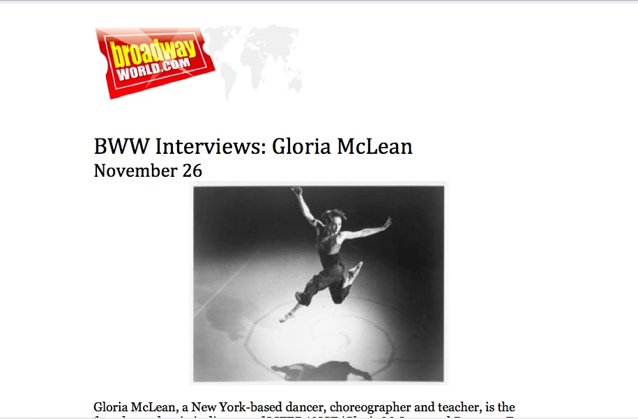American Dance Guild in Broadway World - Q_A with GLORIA MCLEAN, President ADG