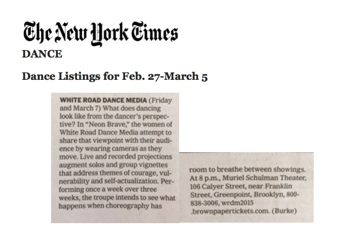 NY Times Listings - White Road Dance