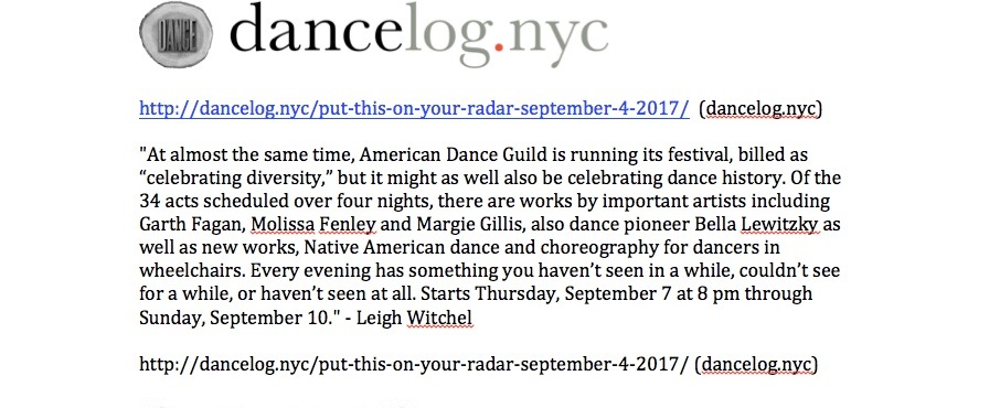 American Dance Guild advance