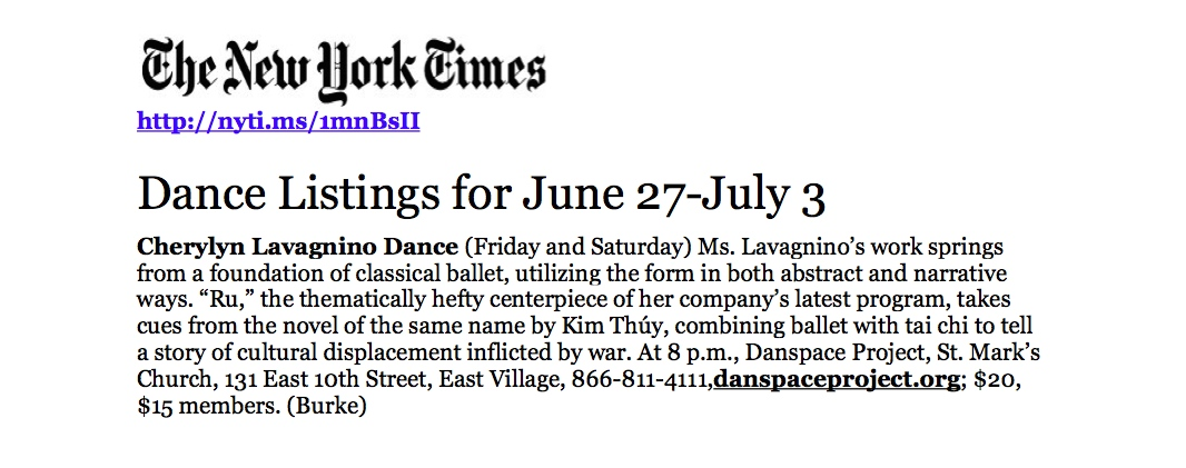 NYTimes - Cherylyn Lavagnino Dance