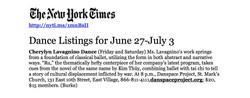 NYTimes - Cherylyn Lavagnino Dance
