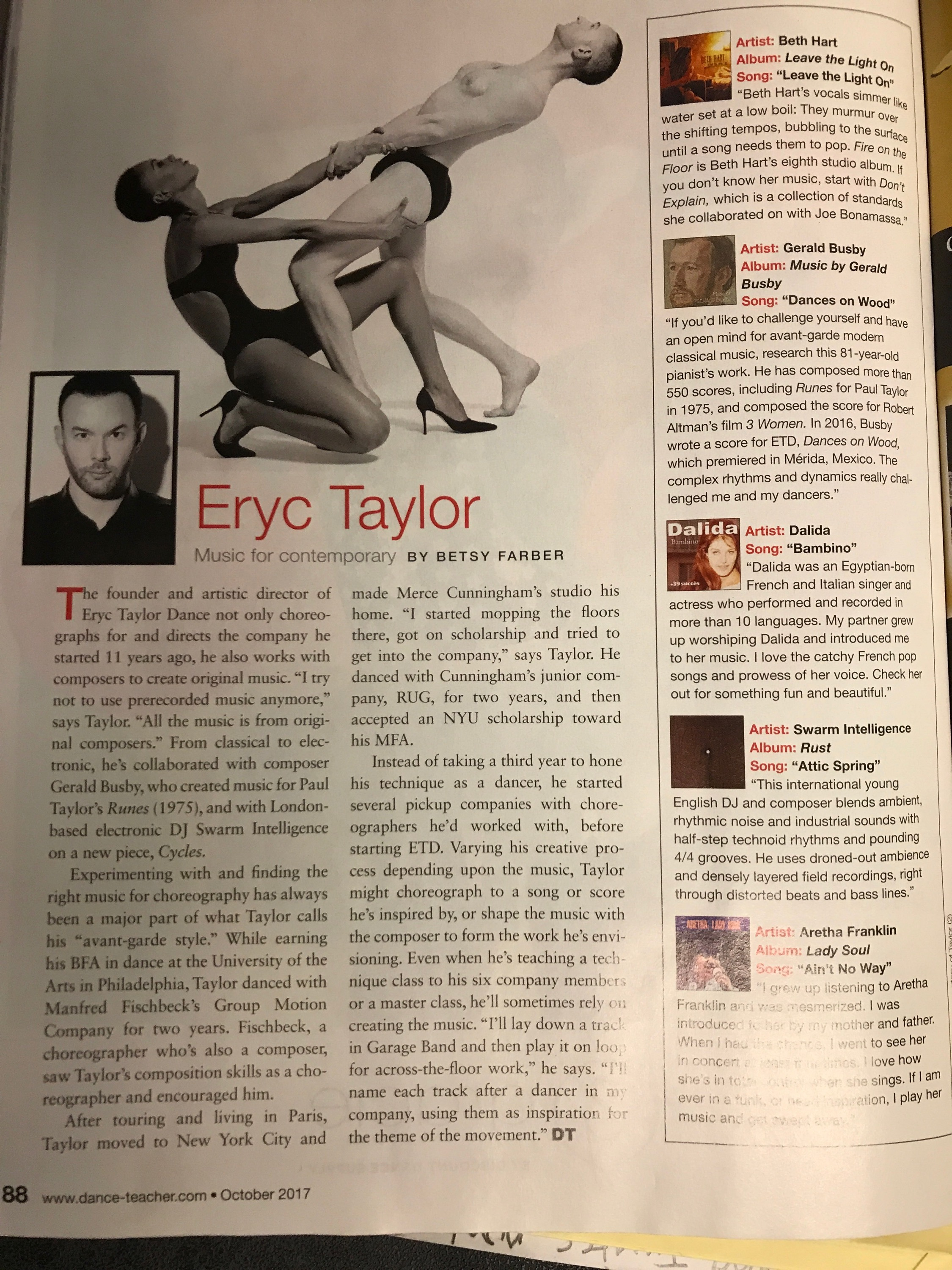 ERYC TAYLOR DANCE Dance Teacher Mag.