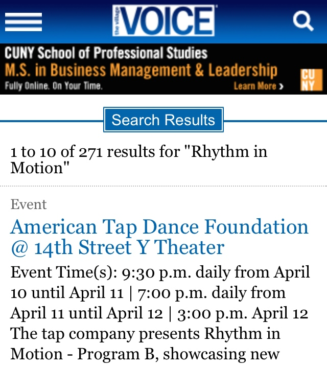 Village Voice Rhythm in Motion