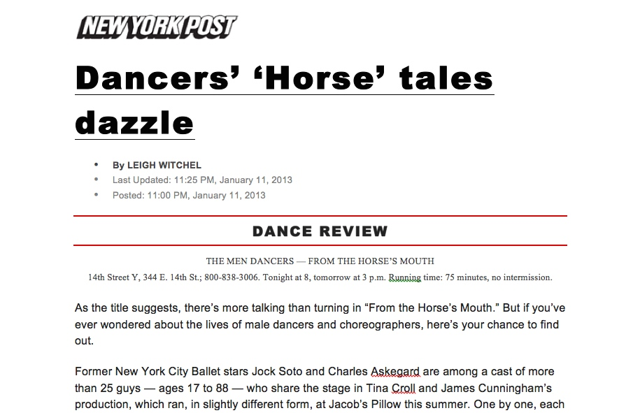 LEIGH WITCHEL - NY POST - HORSE'S MOUTH