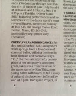 NY Times - Cherylyn Lavagnio Dance listing - June 2014 nyt