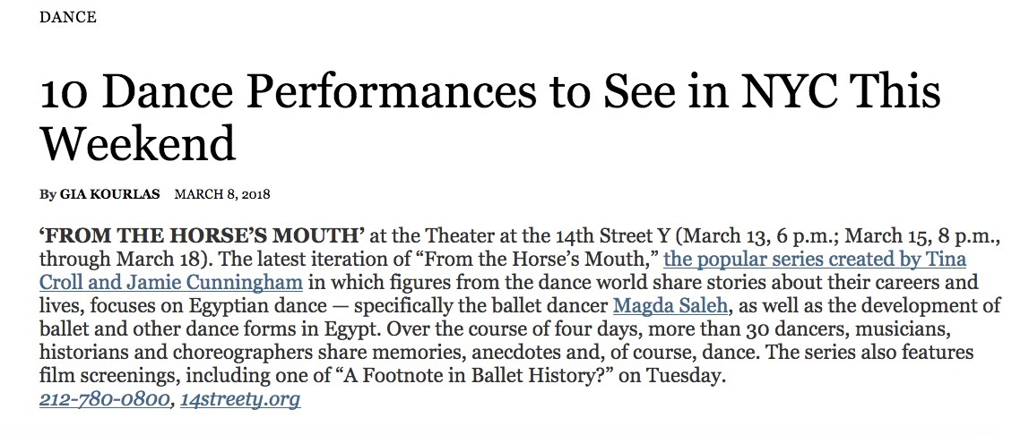 NYTimes Dance Listings 3-9-18