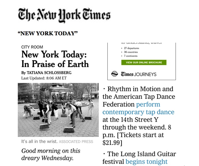 "NYTimes ""NY Today"" Rhythm in Motion"
