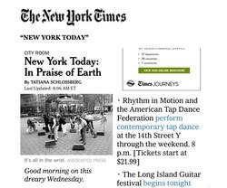 "NYTimes ""NY Today"" Rhythm in Motion"