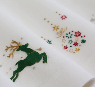GAYLE WARWICK hand embroidered holiday napkins