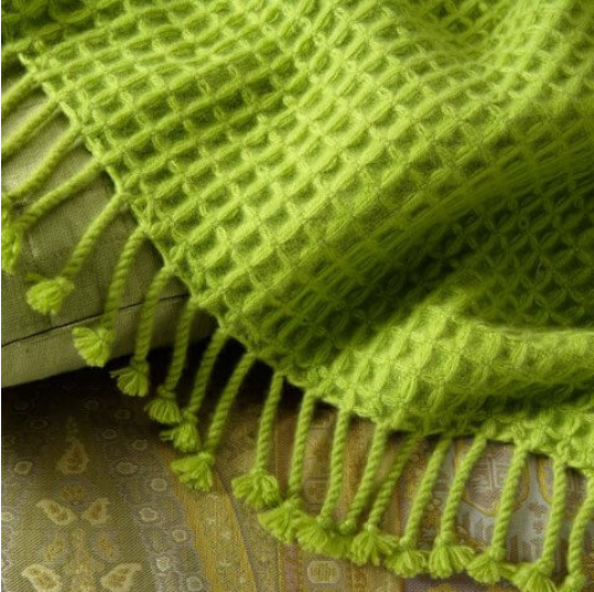 ANICHINI 6-Ply Waffle Weave cashmere throw available in 160 colours