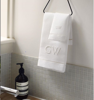 GAYLE WARWICK monogram embroidered hand towel