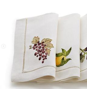 GAYLE WARWICK Umbria hand embroidered napkins