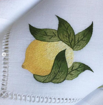 GAYLE WARWICK Umbria hand embroidered napkin