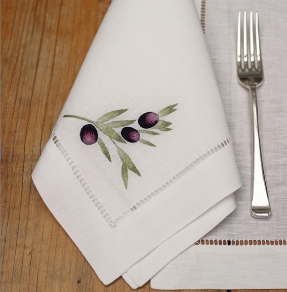 GAYLE WARWICK hand embroidered napkin