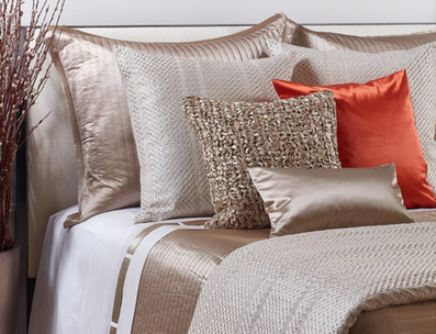ANN GISH interchangeable band sheeting & silk accent cushions