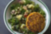 gluten free veggie burger and kale quiona salad recipe