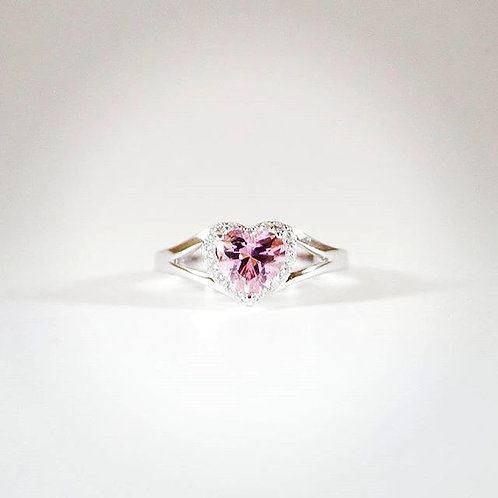 Pink Sapphire Heart Ring with Diamond accent sz 7