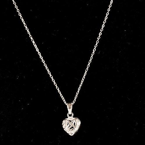 Adorable sterling silver adjustable heart choker