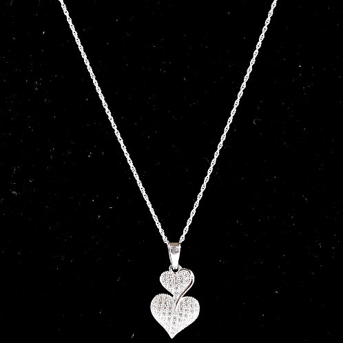 Stacked Heart Sterling Silver Necklace