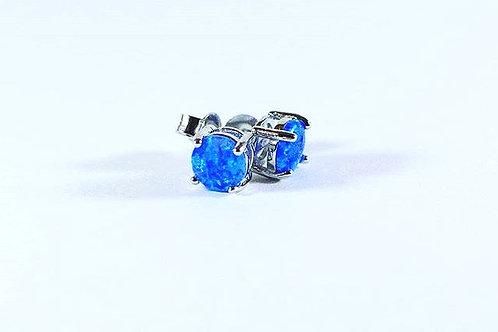 Blue opal sterling silver earrings