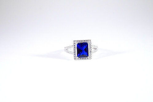 Sterling Silver Blue-White Sapphire Ring-sz 7