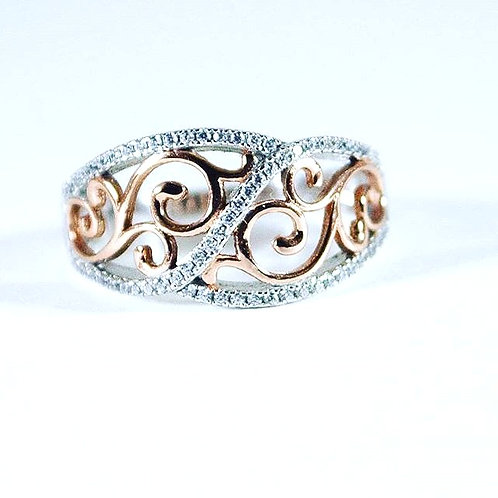 Sterling silver-rose gold white sapphire accent vine ring- sz 7