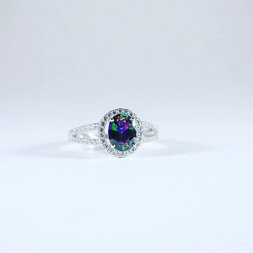 Rainbow Topaz Sapphire Accent ring-sz 9