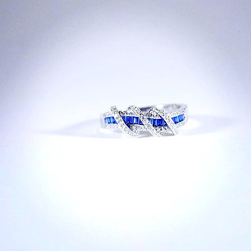 Sterling Silver Blue-White Sapphire Twist Ring-sz 8