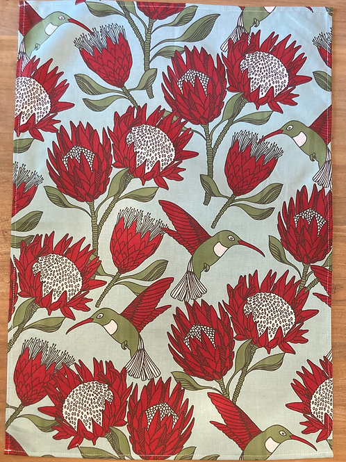 Tea Towel Protea Blue