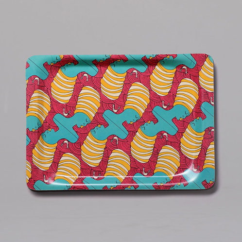 African Lady ( Aqua & Pink) Small Tray