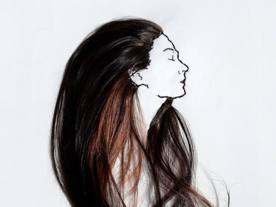 Self portrait from hairs