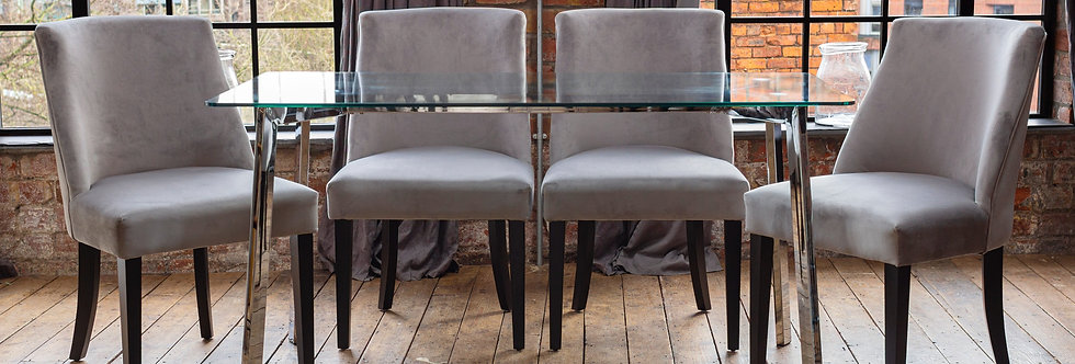 HERA Dining Set with 4 or 6 Silver Elle Chairs