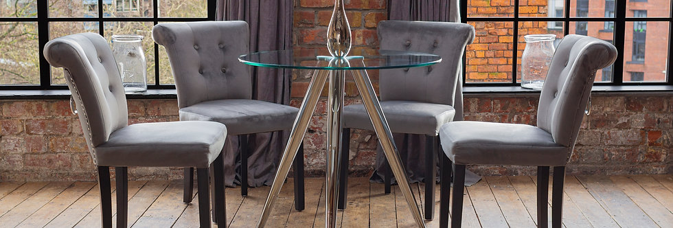SKYE Dining Table with 2 or 4 Grey Sofia Chairs