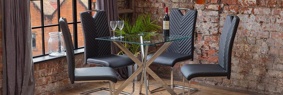 CAPRI Dining Set with 4 Black ELIO Chairs