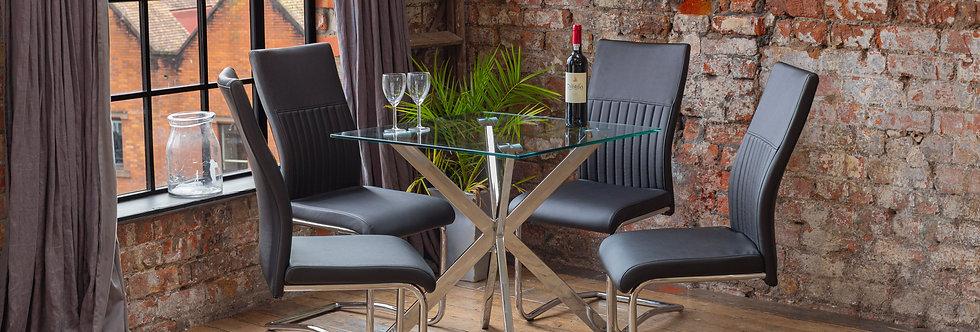 CAPRI Dining Set with 4 Black CYRA Chairs