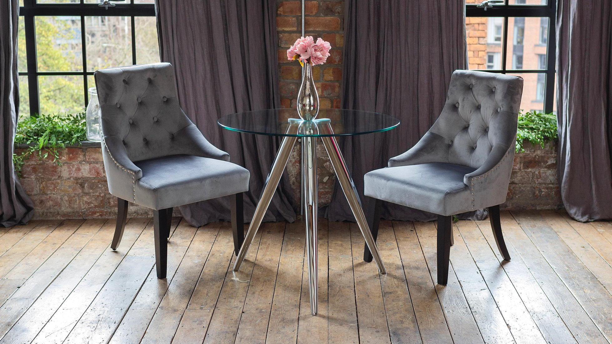 SKYE Dining Table with 2 or 4 Grey Portia Chairs | COKU