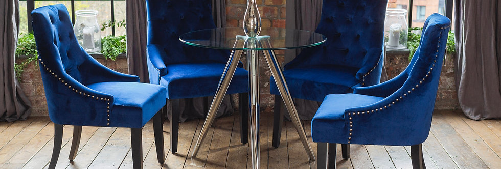 SKYE Dining Set with 2 or 4 Blue Portia Chairs