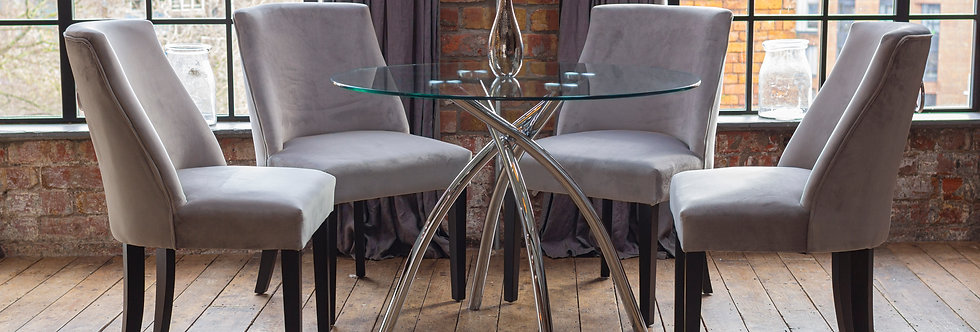 CECELIA Dining Set with 4 Silver Elle Chairs