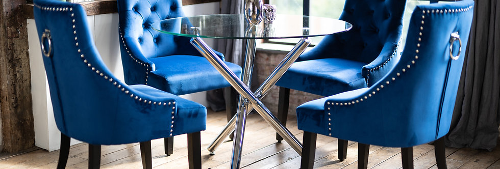 MAIA Dining Set with 2 or 4 Blue Portia Chairs