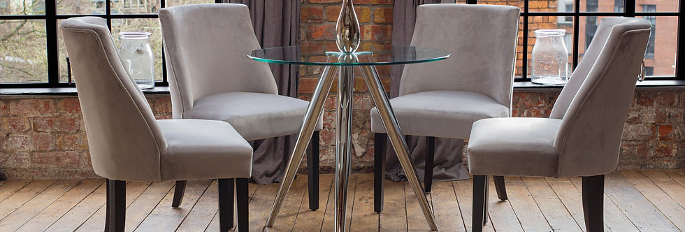 SKYE Dining Table with 2 or 4 Silver Elle Chairs