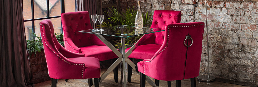 CAPRI Dining Set with 2 or 4 Red Portia Chairs