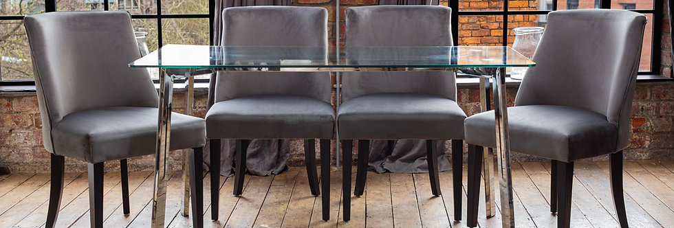 HERA Dining Set with 4 or 6 Grey Elle Chairs