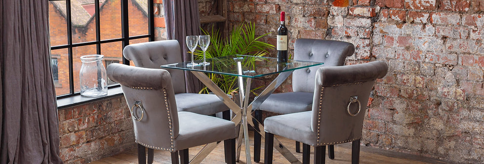CAPRI Dining Set with 2 or 4 Grey Sofia Chairs