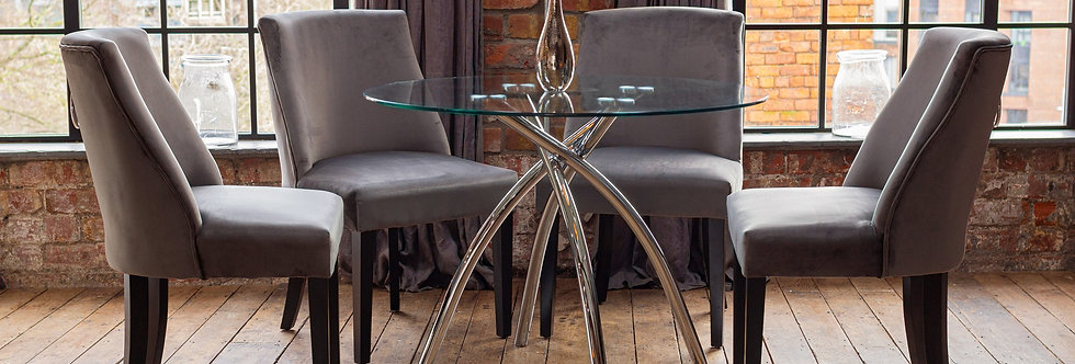 CECELIA Dining Set with 4 Grey Elle Chairs