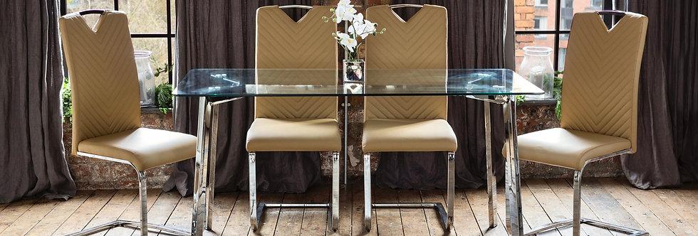 HERA Dining Set with 4 Caramel Elio Chairs