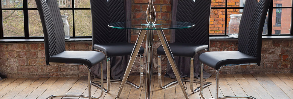 SKYE Dining Table with 4 Black ELIO Chairs