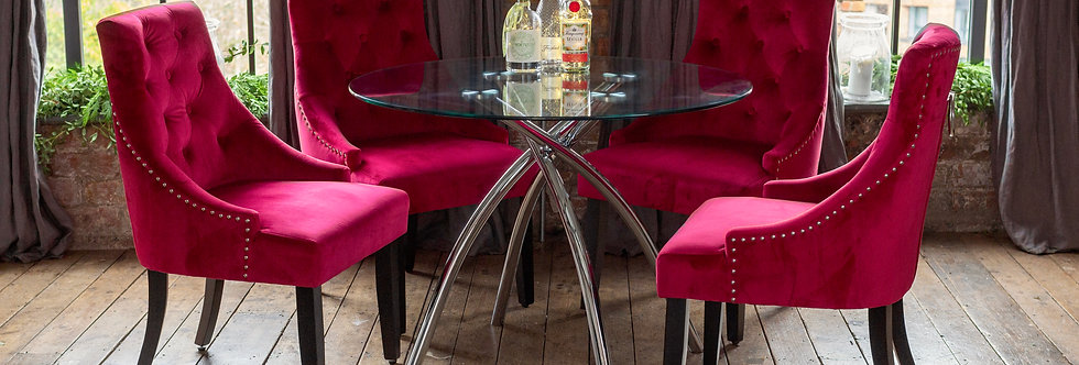CECELIA Dining Set with 4 Red Portia Chairs