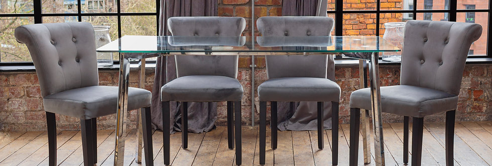 HERA Dining Set with 4 or 6 Grey Sofia Chairs
