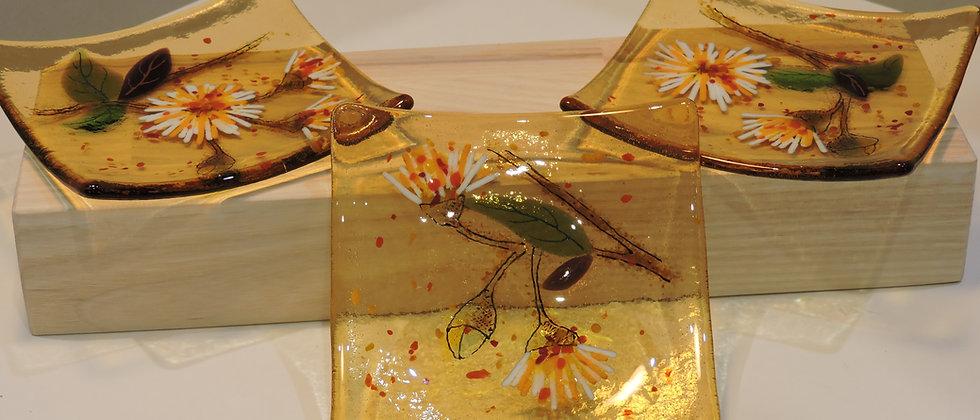 Amber Flowers - Dish Set