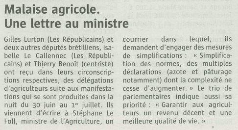 2015-07-11-T-Crise agricole-Lettre de Gilles LURTON, Thierry BENOIT et Isabelle LE CALLENNEC